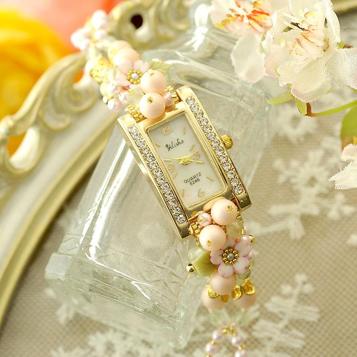 桜草とパールの春色ブレスレットウォッチ 【作家:NARUMIDO】