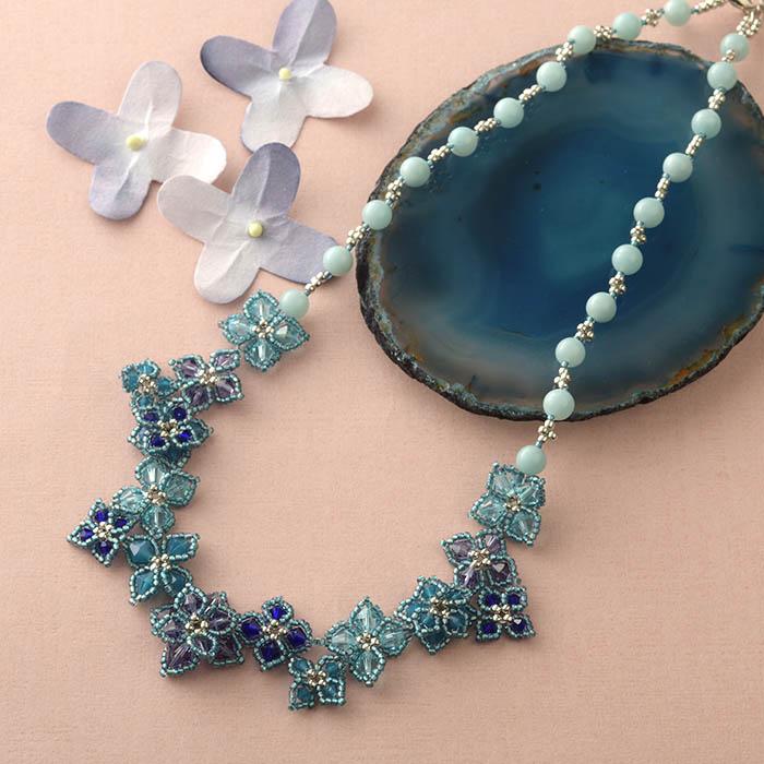 紫陽花のネックレス(アマゾナイト)  N-159b 【作家:Shinon あわいしのぶ】