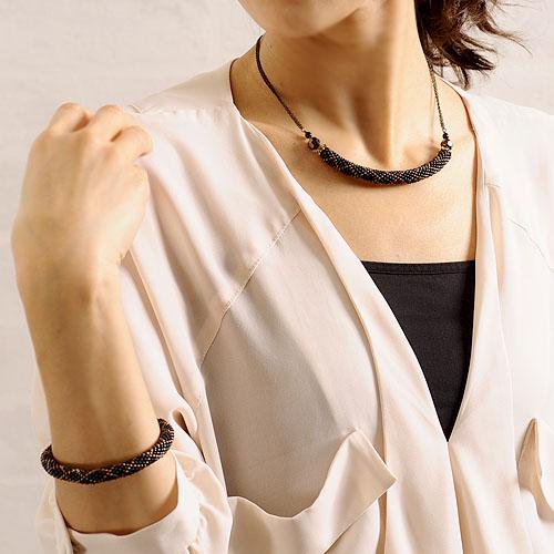 ダイヤ柄ネックレス ブラック 【作家:芝裕子(Atelier Siva)】