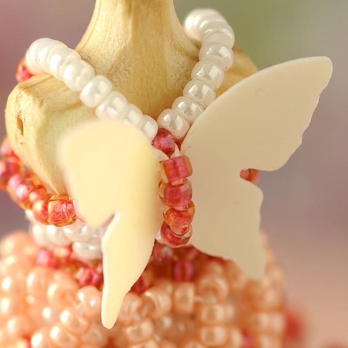 ビーズステッチで作るハニカムトルソードレス〜エアリエル・コーラルピンク〜 【作家:漆原昌美(Mai My Beads)】