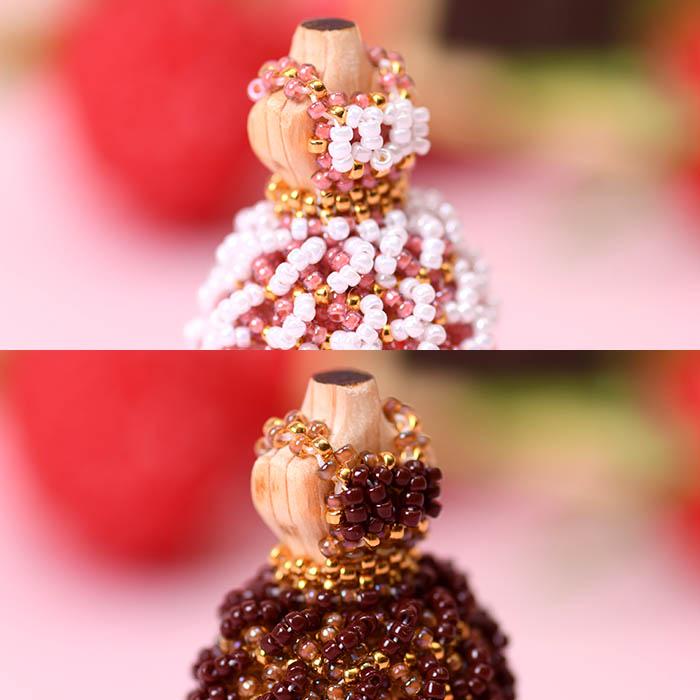 ☆1/14 再入荷☆ ビーズステッチで作るハニカムトルソードレス〜クレム〜 【作家:漆原昌美(Mai My Beads)】