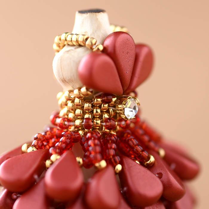 ☆2/9 再入荷☆ ビーズステッチで作るハニカムトルソードレス〜ベルローズ・レッド〜  【作家:漆原昌美(Mai My Beads)】
