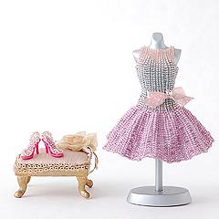 TOHO フレアスカートのリボン付きドレス&ハイヒール  Dress series2-108