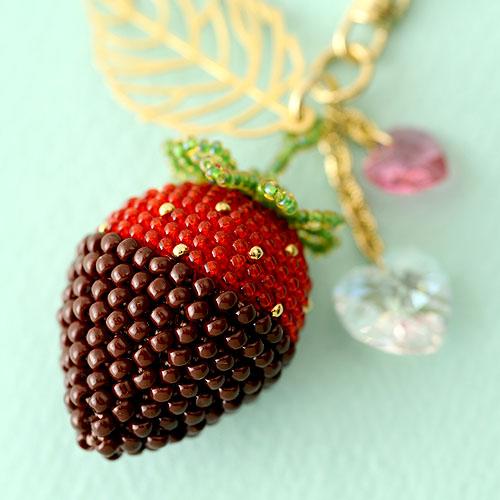 チョコがけいちごとハートのチャーム p18600 【作家:芝裕子(Atelier Siva)】
