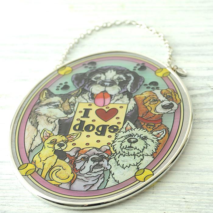 ステンドグラス サンキャッチャー おしゃれ 壁掛け I Love Dogs 41944MO