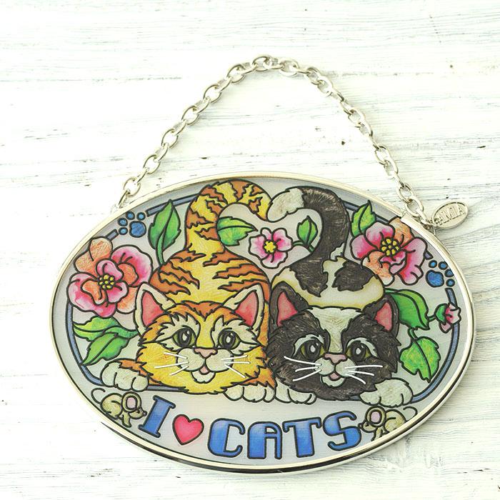 ステンドグラス サンキャッチャー おしゃれ 壁掛け I Love Cats  41973SO