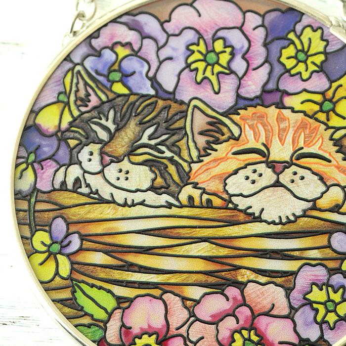 ステンドグラス サンキャッチャー おしゃれ 壁掛け Flower Basket Rest  5482SC