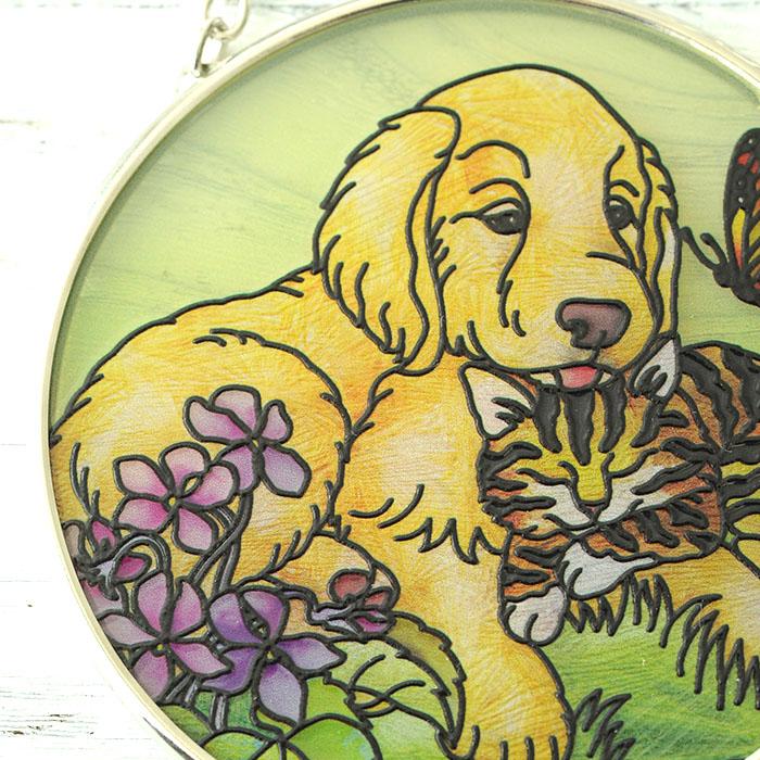 ステンドグラス サンキャッチャー おしゃれ 壁掛け Golden Spring  6546SC