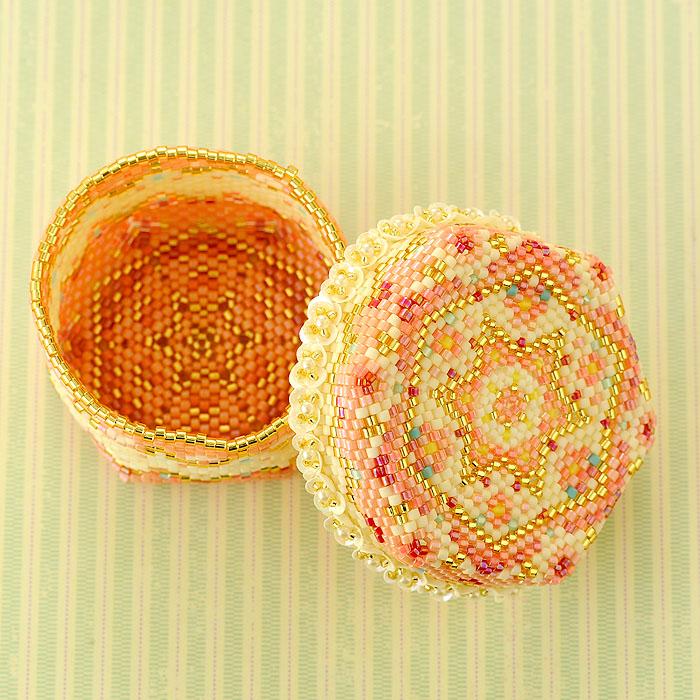 ☆4/14 再入荷☆ ステッチボックス〜手毬箱・桜〜 ビーズマニア