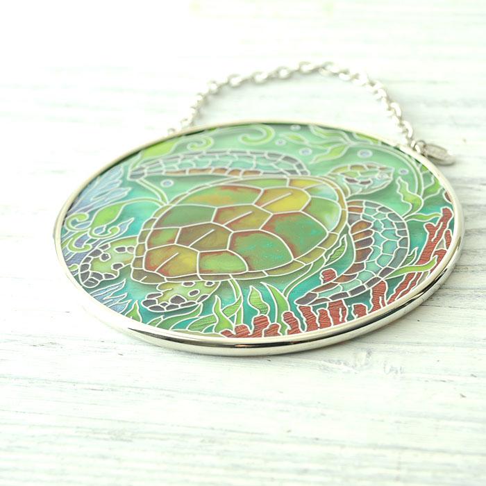 ステンドグラス サンキャッチャー おしゃれ 壁掛け Sea Life Turtle  41412MC
