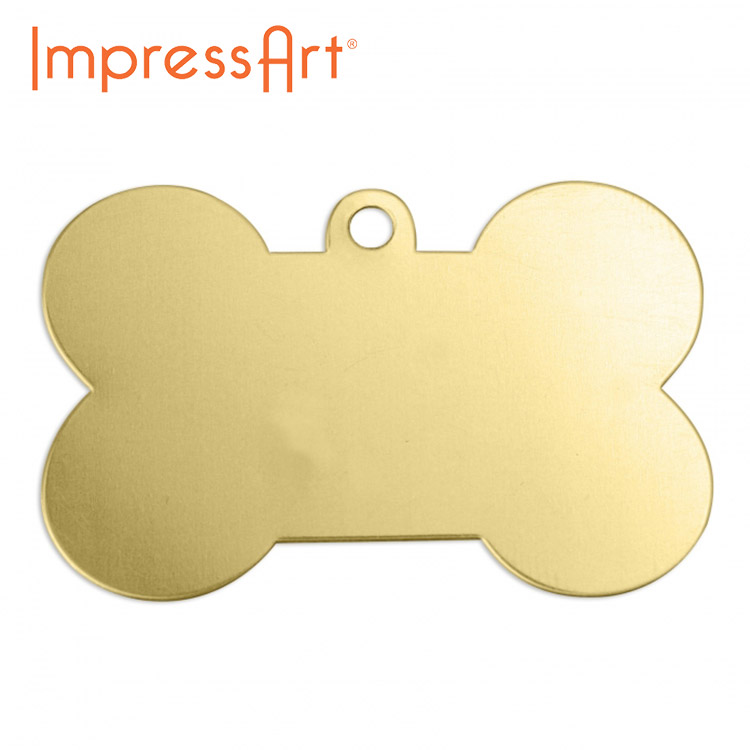 ネームタグ 刻印 名入れ インプレスアート ドッグボーン 真鍮 約26×41mm U3009//1