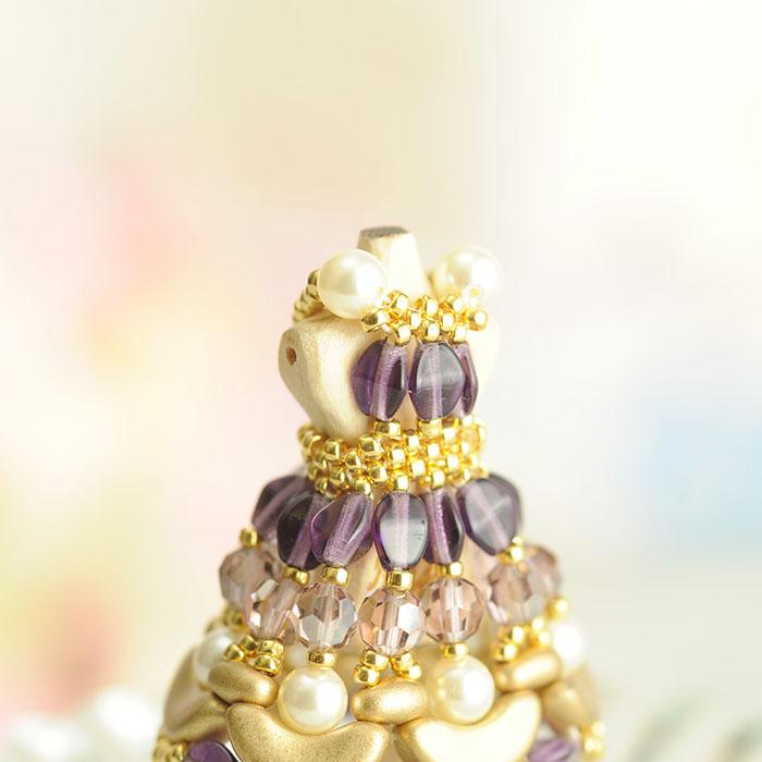 ビーズステッチで作る ハニカムトルソードレス〜ヴィクトリア・紫〜  【作家:漆原昌美(Mai My Beads)】