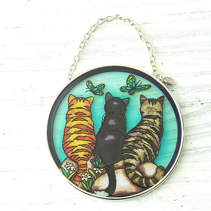 ステンドグラス サンキャッチャー おしゃれ 壁掛け Cats & Company 42447MC