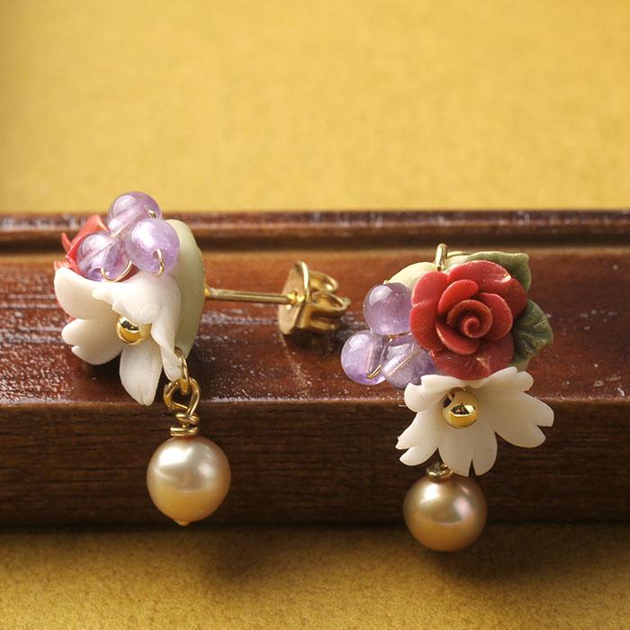 薔薇とジャスミンの秋色ピアスorイヤリング  【作家:NARUMIDO】