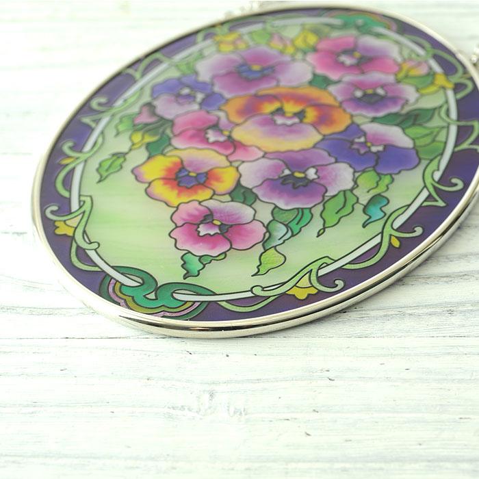 ステンドグラス サンキャッチャー おしゃれ 壁掛け Purple Pansies  7917MO