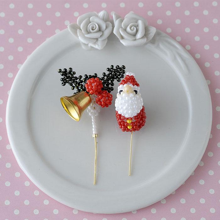 ビーズで編みぐるみ〜クリスマス・ケーキピック〜  ビーズマニア