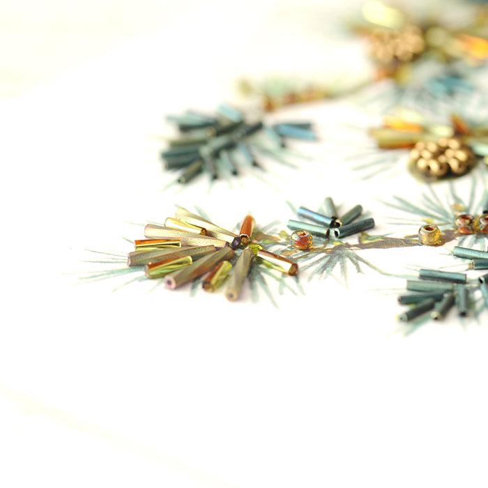 ビーズファクトリー 〜Beads Decor〜松・ヤマガラ(1月) ※額は別売り BHD-117W