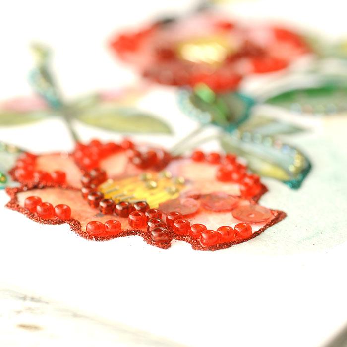 ビーズファクトリー 〜Beads Decor〜椿・シジュウカラ(2月) ※額は別売り BHD-118W