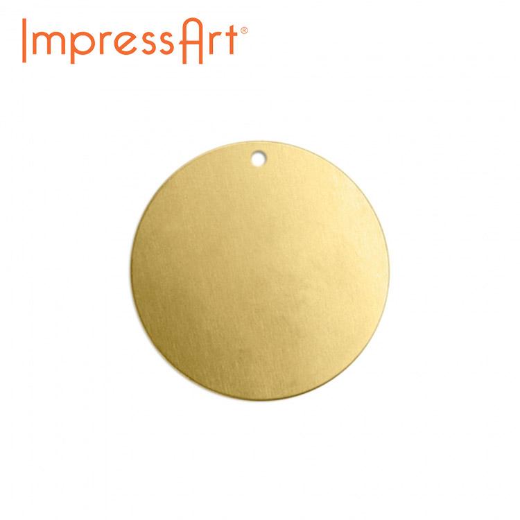 ネームタグ 刻印 名入れ インプレスアート プレート 丸 真鍮 直径約19mm U3014//1