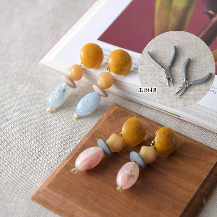 ★5/13 NEW★ A Little Kit for Handcraft フィレンツェ・ミクロのマーブルイヤリング(工具付き)