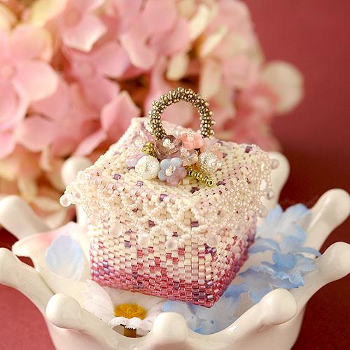 ビーズマニア ピンク紫陽花のジュエリーボックス  ビーズマニア