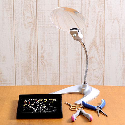 ビーズアクセサリー作業 卓上スタンドルーペ 電池式LEDライト付 TypeB w-130ls