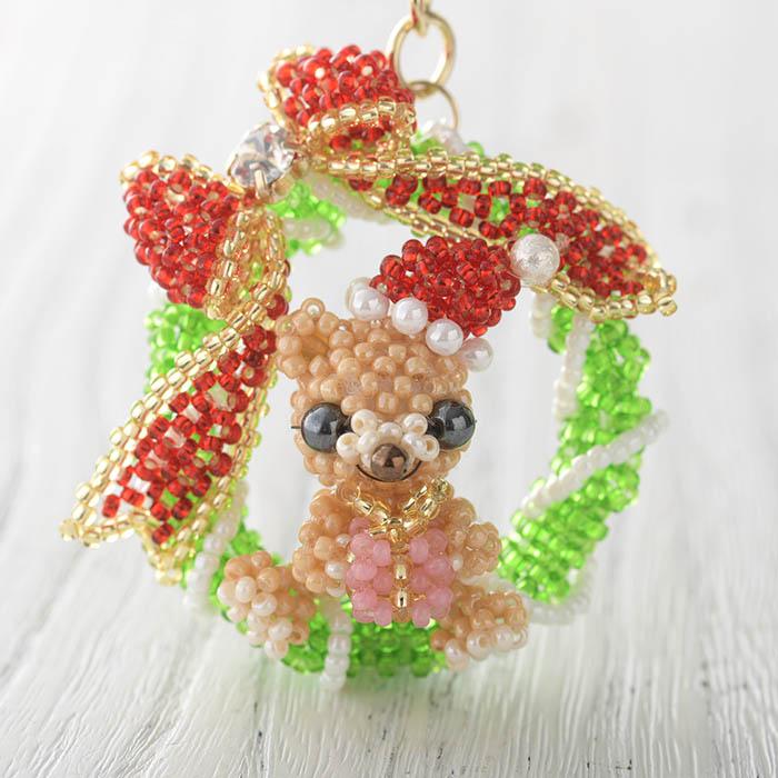Christmasリースくま  【作家:arco iris 川崎 茉紀】