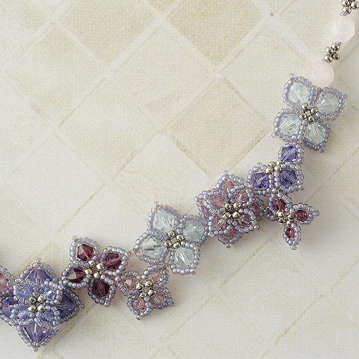 紫陽花のネックレス(ローズクォーツ)  N-159 【作家:Shinon あわいしのぶ】
