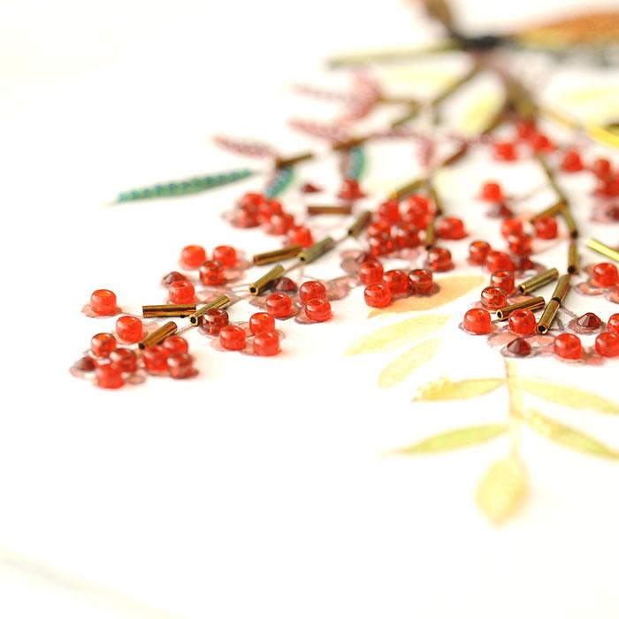 ビーズファクトリー 〜Beads Decor〜南天・ツグミ(12月) ※額は別売り BHD-128W