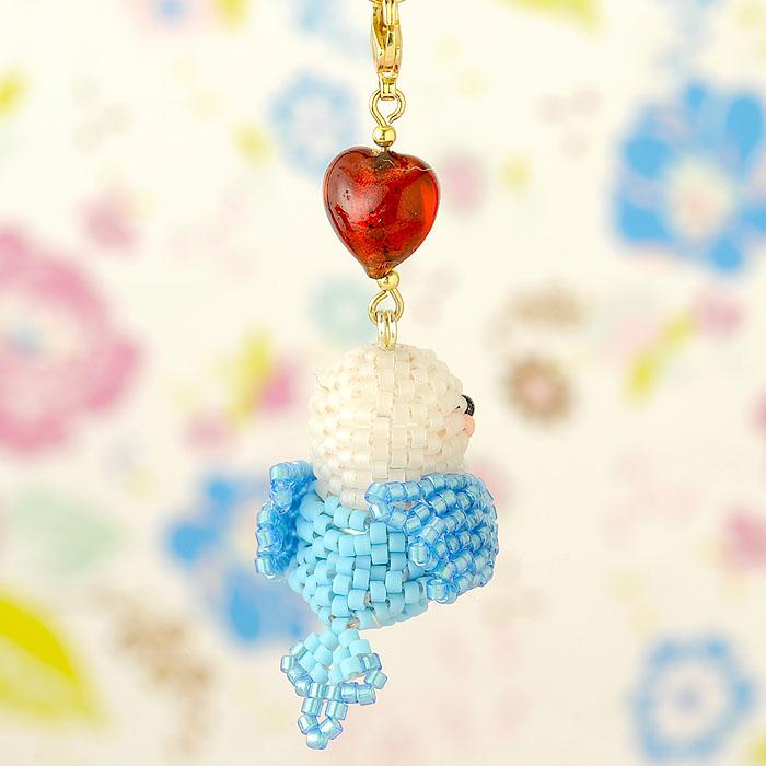 Happy☆Birdストラップ (ホワイト&ブルー) S-51b 【作家:Shinon あわいしのぶ】