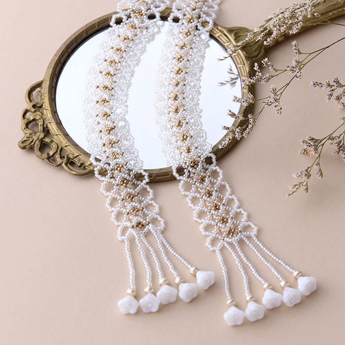 ☆2/16 再入荷☆ White lace Lariat 【作家:荒木晴美(atelier embellir)】