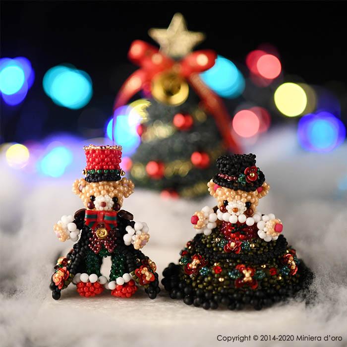 ☆2/25 再入荷☆ パーティーテディベアクリスマスセット〜Adele・Oakley〜  【作家:Miniera d'oro】