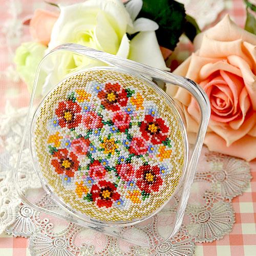 ステッチコースター〜ポピーと薔薇〜 ビーズマニア