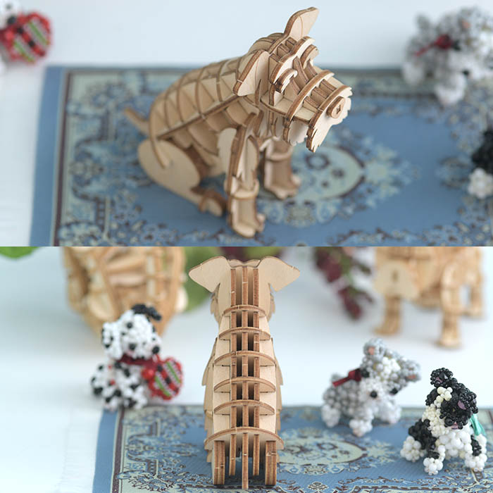 立体パズル 木製 ki-gu-mi ミニチュアシュナウザー