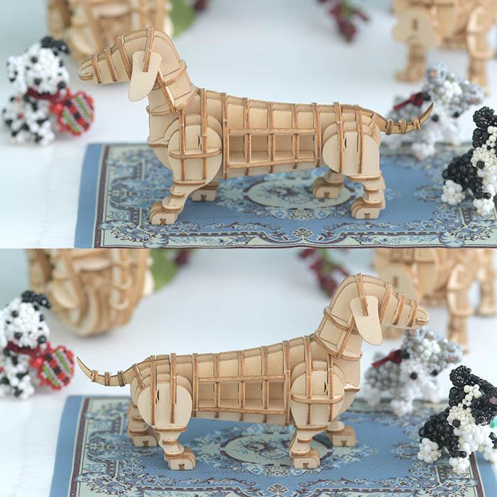 立体パズル 木製 ki-gu-mi ダックスフント