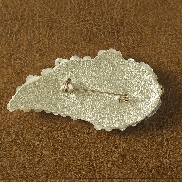 ビーズファクトリー オートクチュールビーズ刺繍キット ホワイトリーフブローチ HCK-002