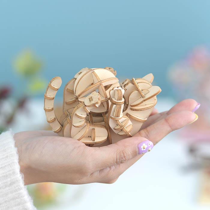 立体パズル 大人 工作 キット Wooden Art ki-gu-mi ネコ 遊び
