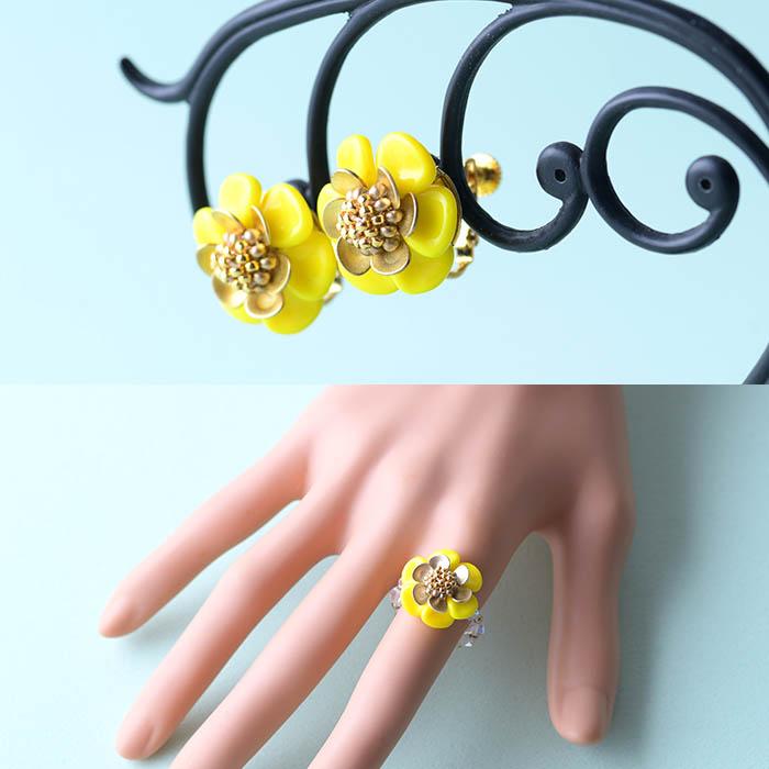 ★3/22 NEW★ フルール リング&イヤリング 【作家:漆原昌美(Mai My Beads)】
