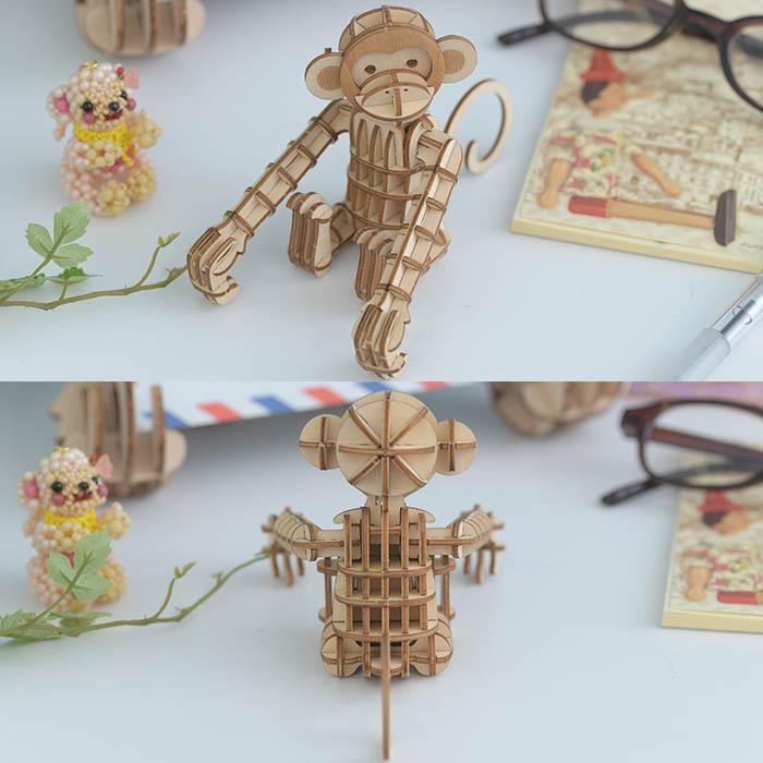立体パズル 木製 ki-gu-mi サル