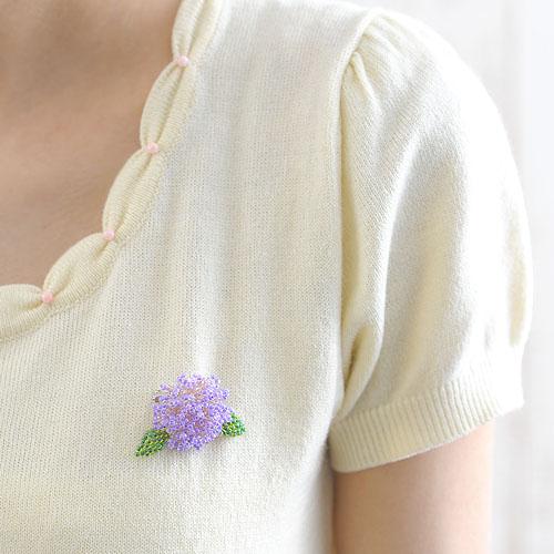 Hydrangea 紫陽花ブローチ パープル  OT-087PU 【作家:青木恵理(Blue-Bell)】