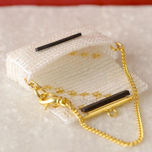 ビーズファクトリー デリカビーズ織りバッグチャームキット (パーティーバッグ・白) BFK-475