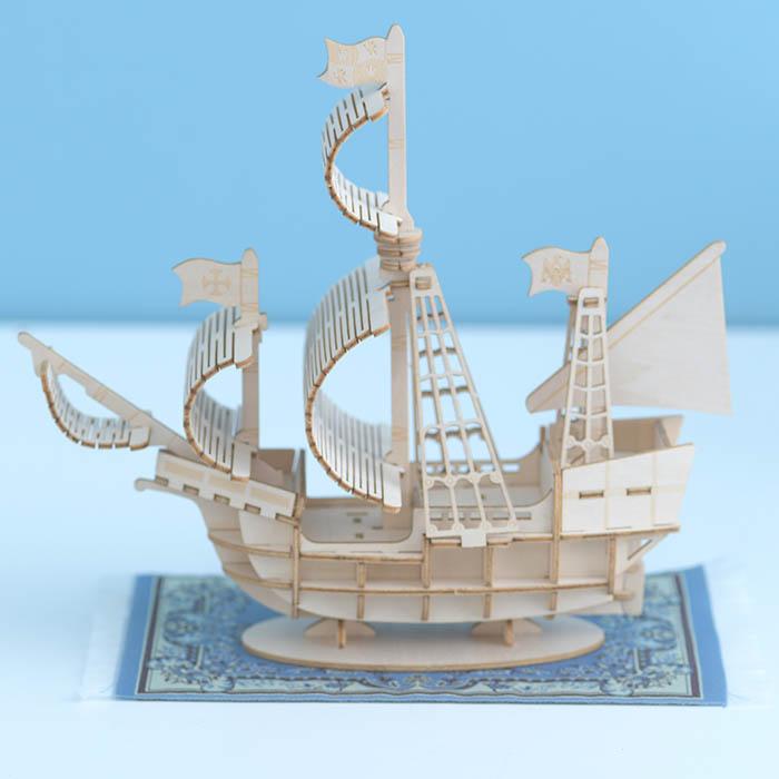 立体パズル 木製 ki-gu-mi 帆船