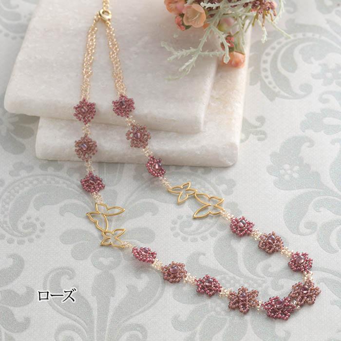 スプリングスターフラワーと蝶のネックレス 【作家:菊島美奈子(angelica)】