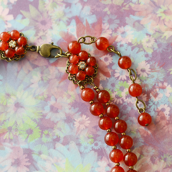 牡丹のネックレス(レッド)  N-150b 【作家:Shinon あわいしのぶ】