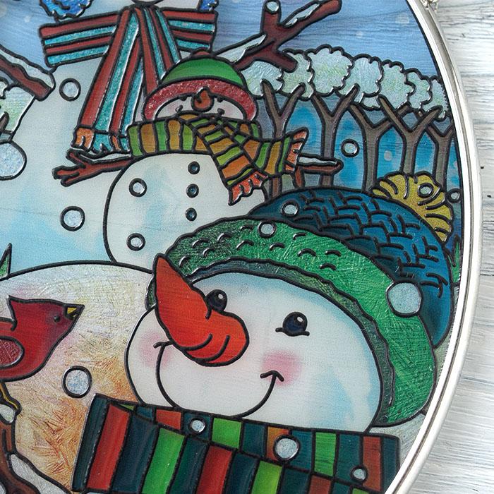 ステンドグラス サンキャッチャー おしゃれ 壁掛け 雪だるま遊び 41026SO
