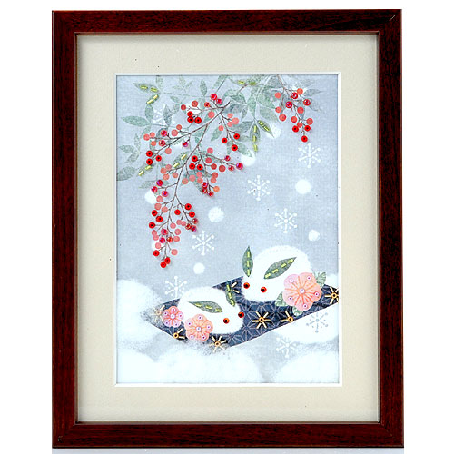 ビーズファクトリー 〜Beads Decor〜雪うさぎと南天 ※額は別売り BHD-52