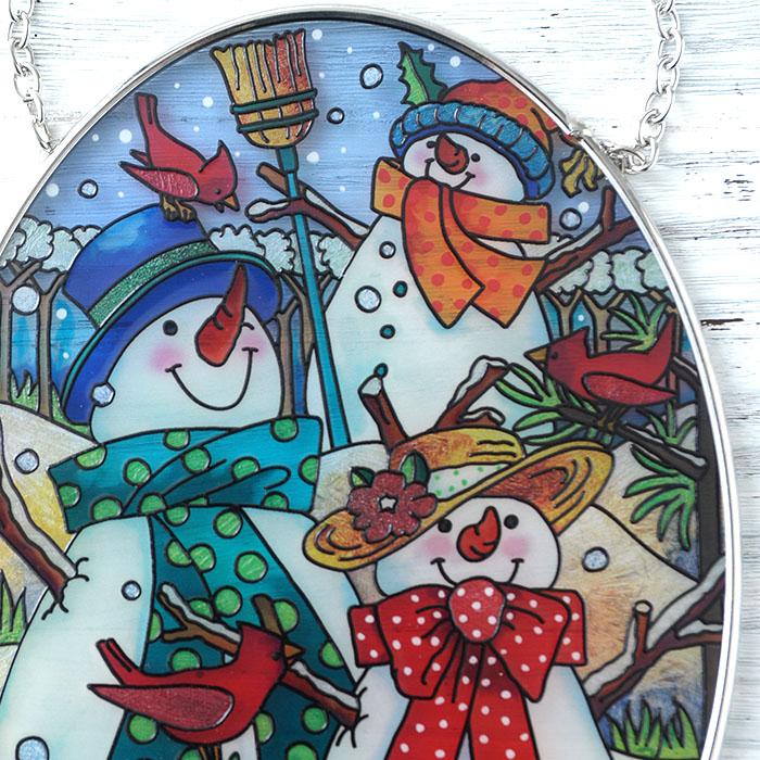 ステンドグラス サンキャッチャー おしゃれ 壁掛け 雪だるまの家族  41025MO