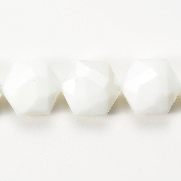カットガラス/ヘキサゴン 約14×15×8.5mmホワイト
