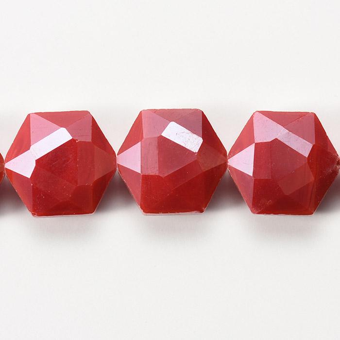 カットガラス/ヘキサゴン 約14×15×8.5mm レッド