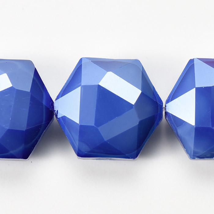 カットガラス/ヘキサゴン 約14×15×8.5mm ブルー